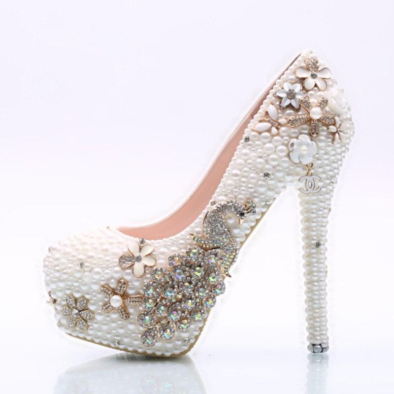 Femmes cristal pompes de mariage haut talon perceuse table étanche avec chaussures de mariée perle demoiselle d'honneur mariage Banquet chaussures