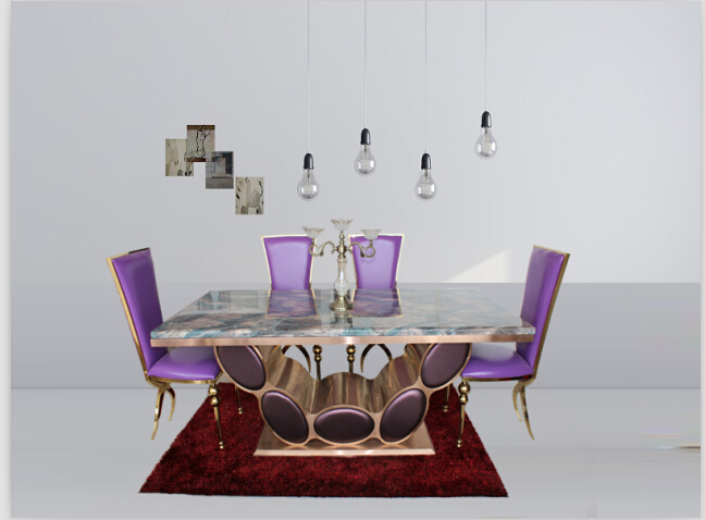 Good Quality Marble Dining Table Set With Rose Gold Color 4 ChairsChina