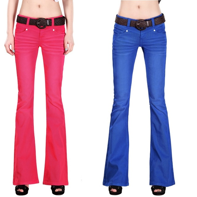 2017 new women casual flare jeans Candy color softener denim trousers tight wide leg Ladies ...