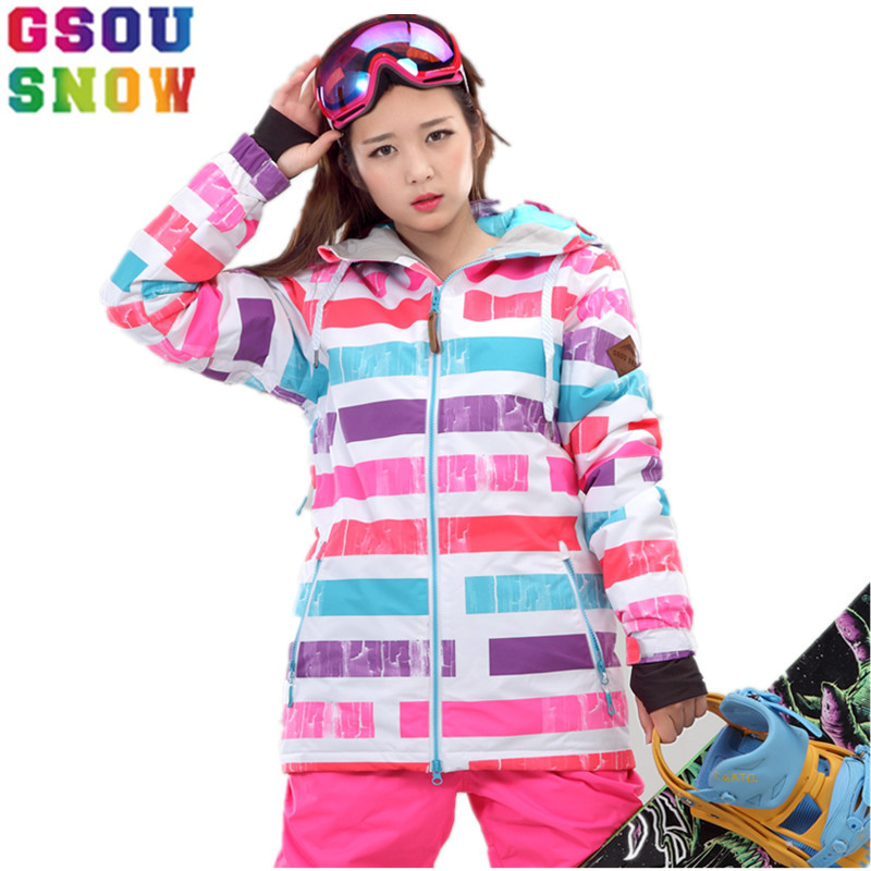 GSOU SNOW Brand Ski Jacket Women Colorized Snowboard Jacket Winter Ski Wear -30 Waterproof Skiing Clothing Female Snow CoatsGSOU SNOW Brand Ski Jacket Women Colorized Snowboard Jacket Winter Ski Wear -30 Waterproof Skiing Clothing Female Snow Coats