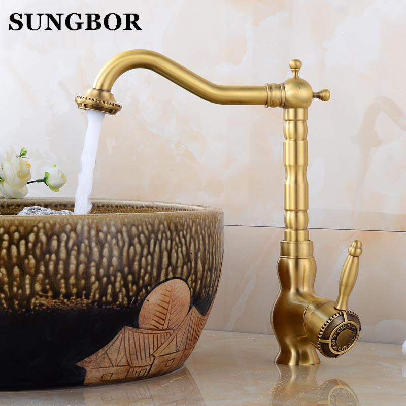 High Quality Art Antique Bronze Copper Carving Deck Mounted Bathroom Single Handle Hot and Cold Basin Sink Faucet Mixer Tap 7189