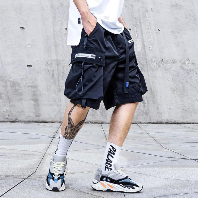 April MOMO 3M Reflective Cargo Shorts Men 2019 Color Patchwork Summer Casual Knee Length Streetwear Hip Hop Shorts Man Joggers