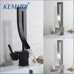 KEMAIDI Black Brass Basin Faucet Single Handle Waterfall Basin Mixer Tap Hot & Cold Bathroom Faucets Sink Waterfall Faucet Drain