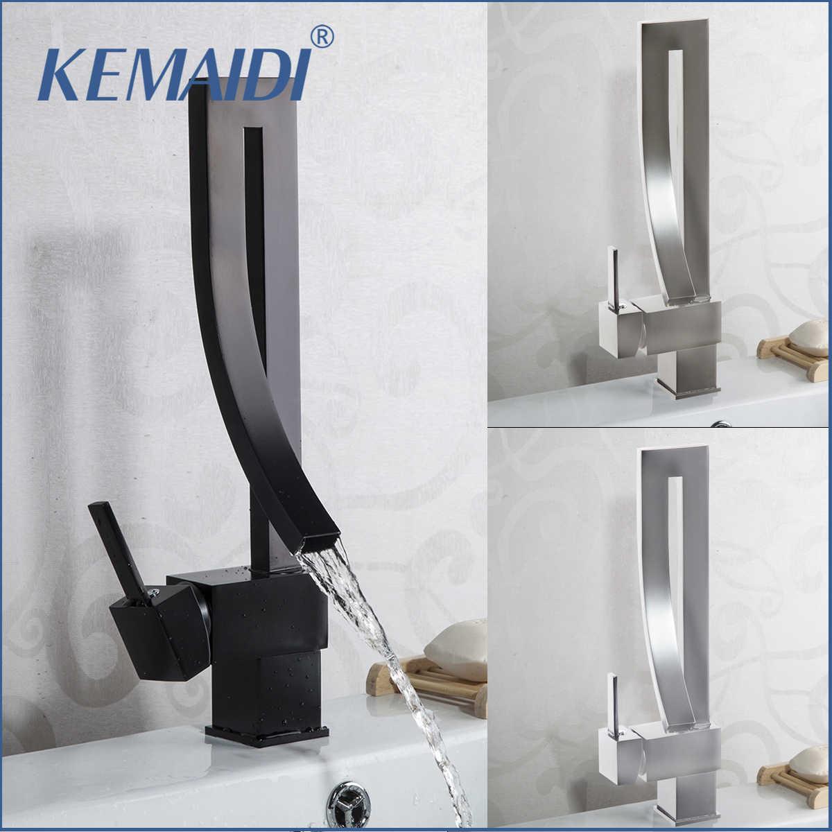 Kemaidi preto torneira da bacia de bronze único punho cachoeira bacia toque mixer quente & fria torneiras do banheiro pia cachoeira torneira dreno