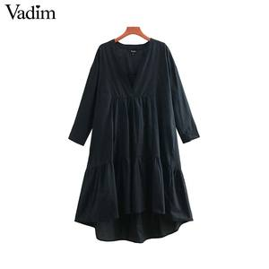 Image 1 - Vadim women sweet solid loose straight dress O neck button design mid calf female casual white midi dresses vestidos QB606