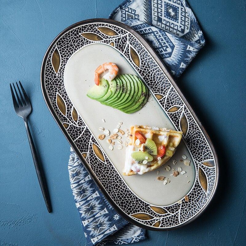 EECAMAIL Style européen en céramique vaisselle créative grand poisson assiette ovale plaque personnalité rétro Western plats maison nourriture plats
