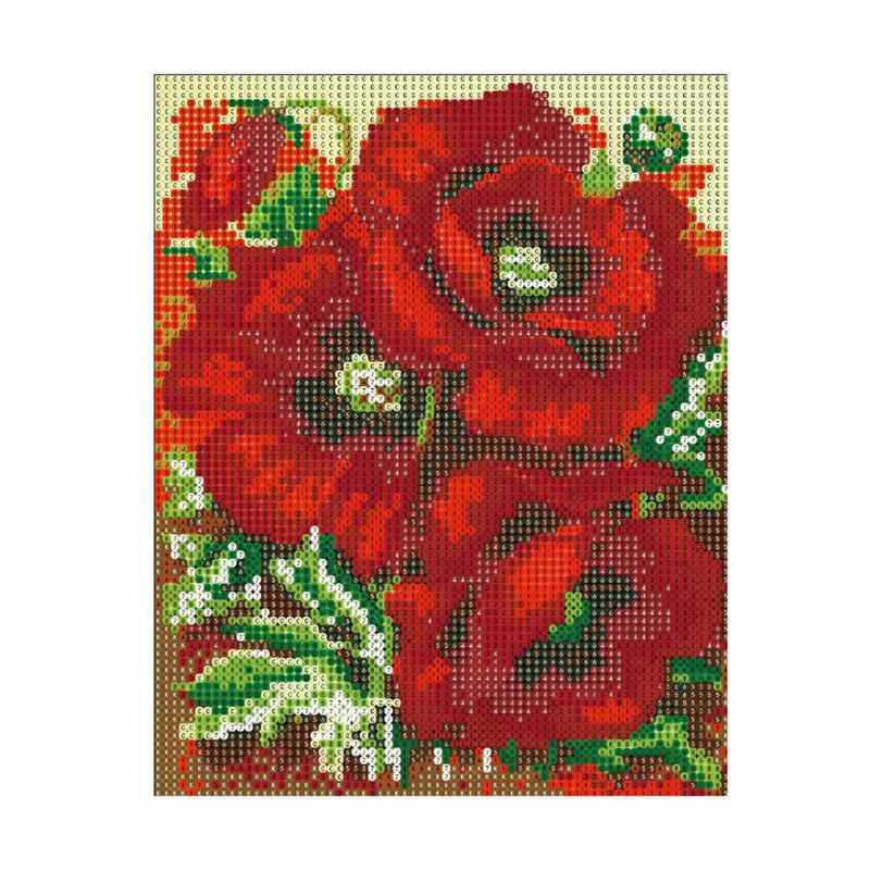 5D DIY Diamond Embroidery Painting Handmade Wall Decoration Cross Stitch Printing Craft Kits without Frame(Poppy)