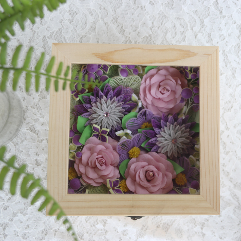 Free Shipping1 Boxsetromantic Flowers Box Quilling Paper Flower