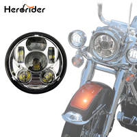 Herorider Motorcycle 5 3/4 Headlight LED h4 High low beam 5.75'' Led Moto Headlight Projector Lens hi low For harley