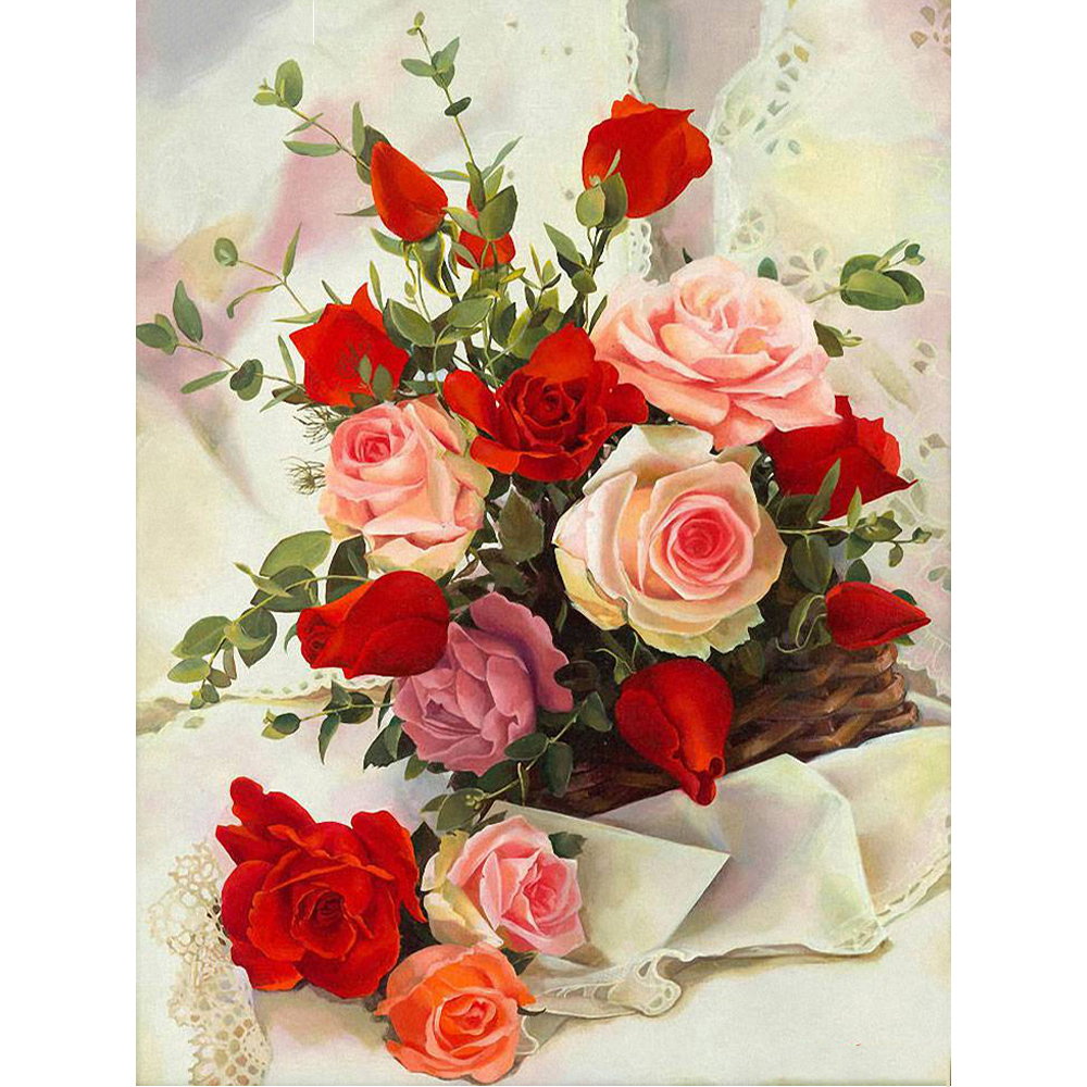 5D DIY Diamond Painting Cross-Stitch Kits Diamond Embroidery Pictures Of Rhinestones Painting By Numbers Flower Rose Gifts