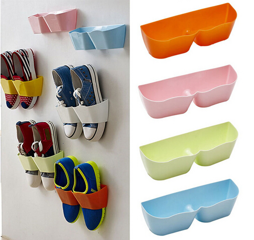 1Pcs ABS 3D Hanging Shoes Racks Shelf Stand Cabinet Display Wall Rack Holder Shoe Storage Candy Color Stick Style copper bathroom shelf basket soap dish copper storage holder silver