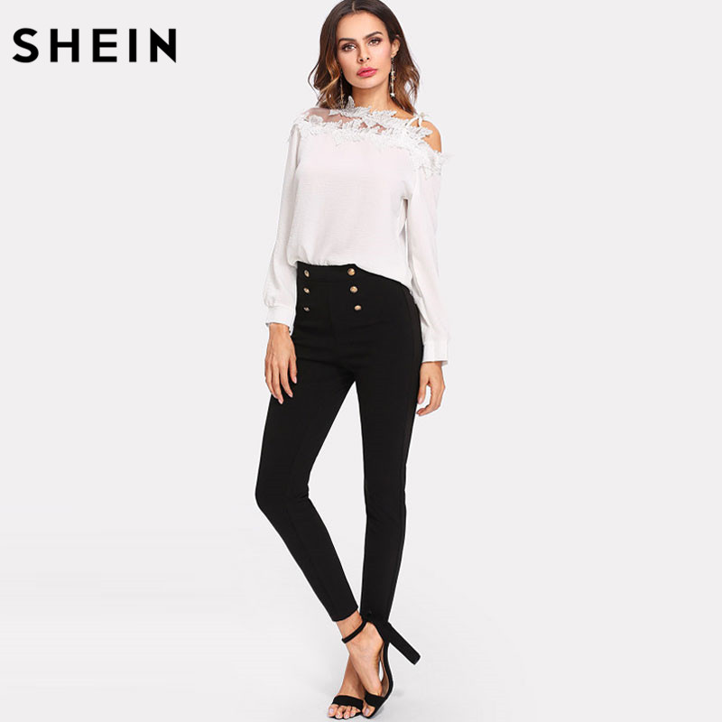 Image 5 - SHEIN Black Work Zipper Women Pants Capris Spring Trousers Skinny Sailor Pants  Double Button Mid Waist Casual Pants-in Pants & Capris from Women's Clothing