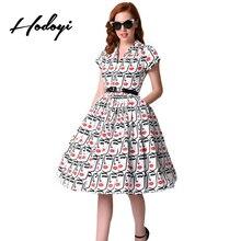 Hodoyi v-образным вырезом с принтом винтажные платья трапециевидной формы женщин Высокая Талия элегантные плиссированные платья Женская Повседневная милое платье; Vestidos