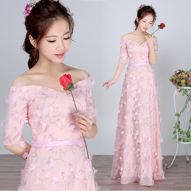 Pastel Light Pink Colored Flower Bridesmaid Dresses Bride Maid S Formal Dress For Wedding