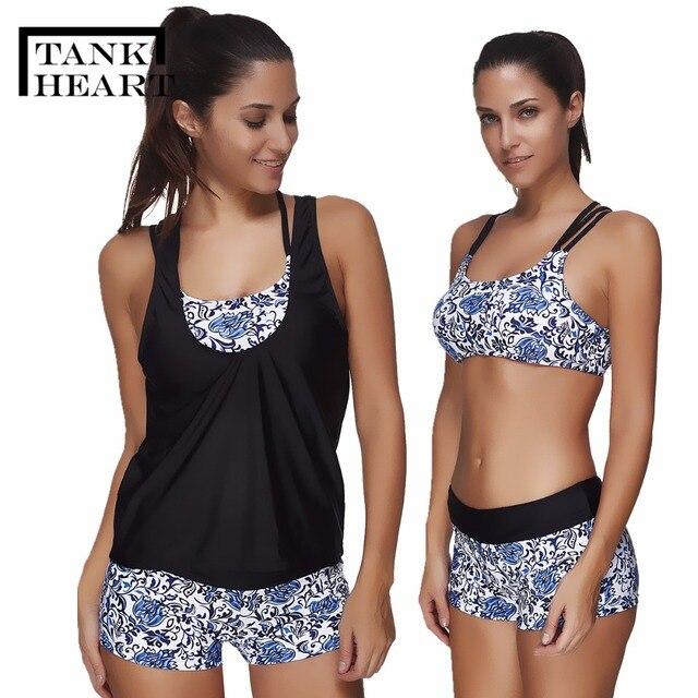 30784ca96e Tank Heart Swimsuit With Shorts Tankini Set Bathing Suit 3 Pieces Swimwear  Women Plus Size May Female Beach Biquine Swim Suit