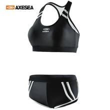 Swimwear Bikini-Set Short Tankini-Volleyball Beachwear Crop-Tank Yoga Two-Piece Sports