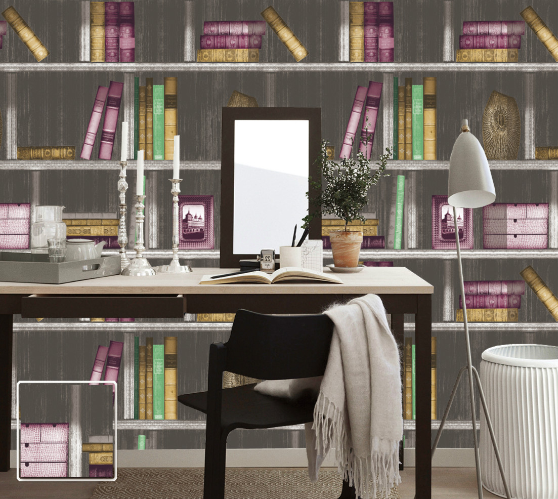 Vintage Study Room: 3d Retro Bookshelf Wallpaper Rolls For Study Room Living