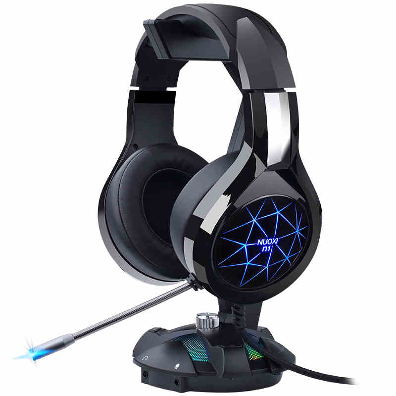 NUOXI Gaming Headphones for Mobile Phone Computer PC 3.5mm Wired Headphones with Microphone LED Lamp Noise Canceling Headset