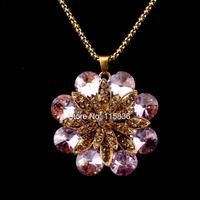 2014 New Hot Fashion High Quality Pink Rhinestone Crystal Big Flower Pendant Necklace Vintage Gold Chain