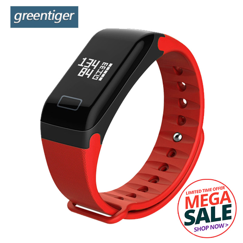 Greentiger F1 Smart Bracelet Heart Rate Monitor Blood Pressure Smart Band Health Fitness Tracker Smart Wristband for Android iOS no 1 f1 heart rate monitor smart bracelet blue