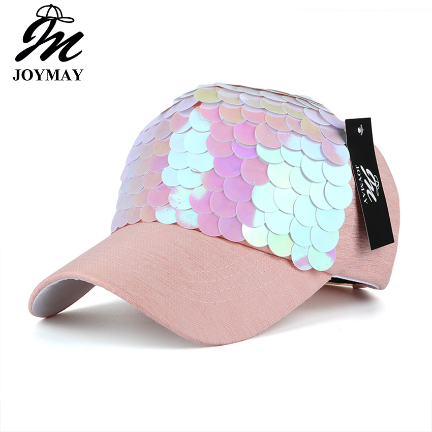 JOYMAY Spring New Fashion Women Baseball cap with Sequins Shining Bling Adjustable Leisure Casual Snapback HAT B438 joymay quick drying casual baseball cap breathable snapback sun hat fishing hat fashion cap b293