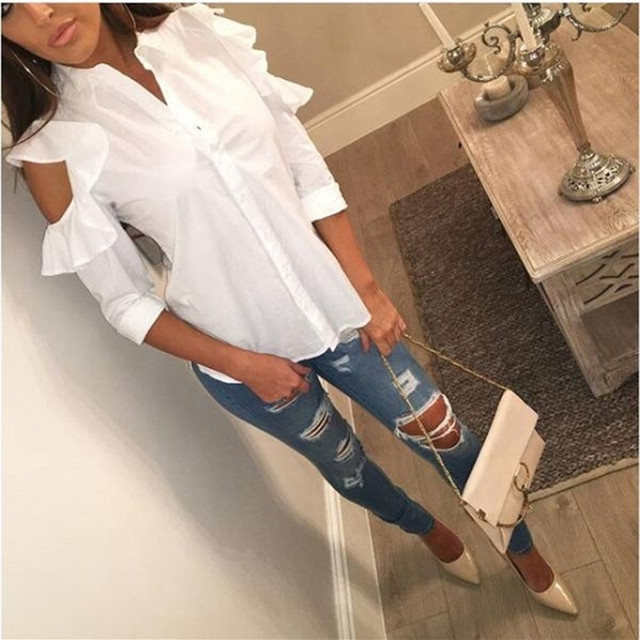 1179a6ed9255dd Neu! Frau Leger Weiße Bluse Tops Rüschen Cold Shoulder Langarm shirt ...