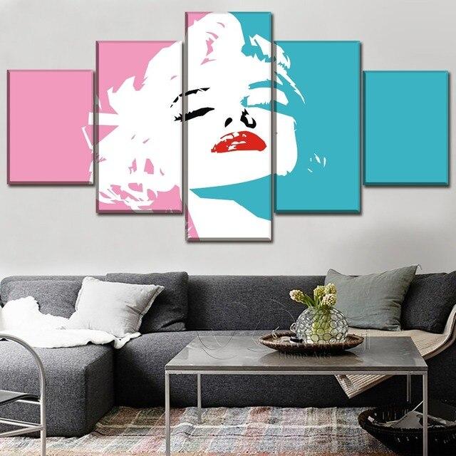 Wand Kunst Wohnkultur Rahmen Leinwand Bilder 5 stück Promi Marilyn Monroe Rosa Paintin Für Wohnzimmer HD Print Typ poster