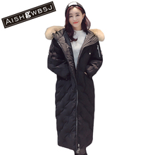 AISHGWBSJ Available Women Winter Bread Coat Long Sleeve Hooded Long Jacket Thick Warm Cotton Jacket Large Size Parkas QYX38