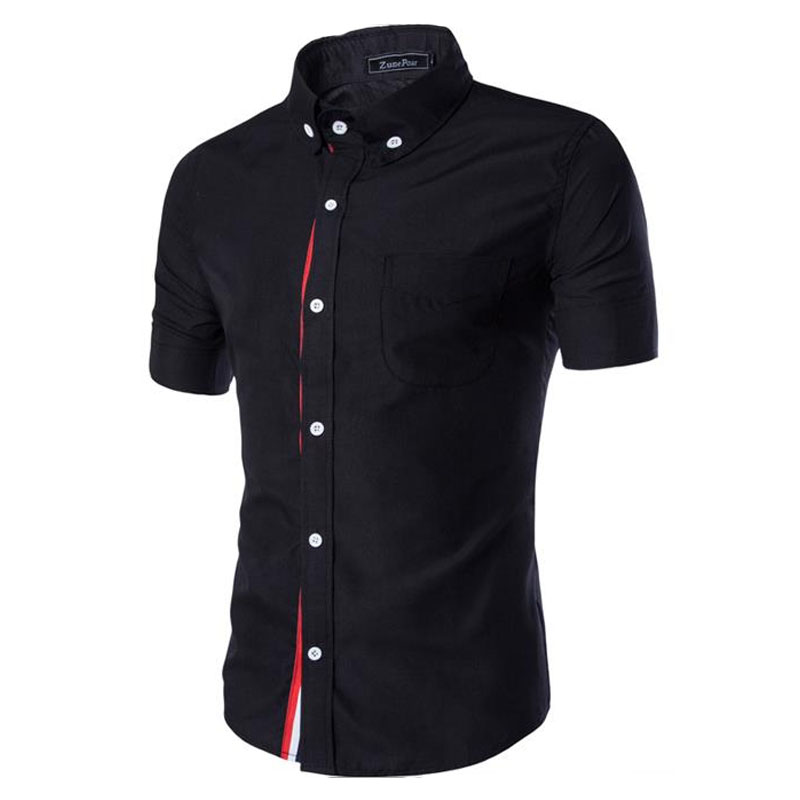 Men shirt designer brand 2017 male short sleeve shirts for Mens black short sleeve dress shirt