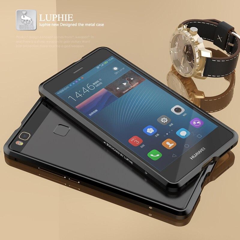 imágenes para LUPHIE Para Huawei P9 Lite Caso 5.2 Original de Lujo Duro de Parachoques de Aluminio Caja del teléfono de Huawei Nova P9 Más Honor 8 Funda 6X