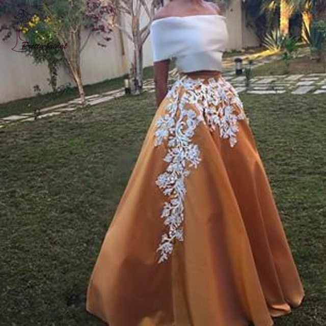 f6e435b22f1a Two Piece Gown Prom Dress 2016 Appliques Off shoulder Short Sleeve  Champagne Skirt White Top Corset Long Women Evening dress