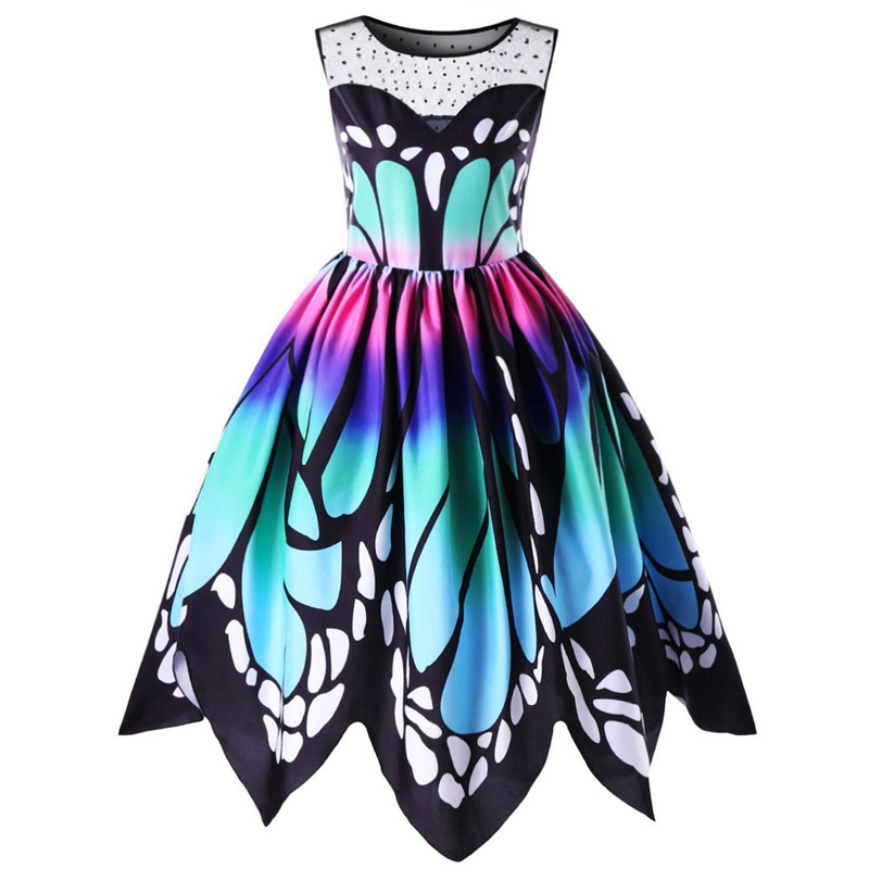 Dress Womens Butterfly Printing Sleeveless Party Dress Vintage Swing Lace Dress Summer Dress New Arrival 2019