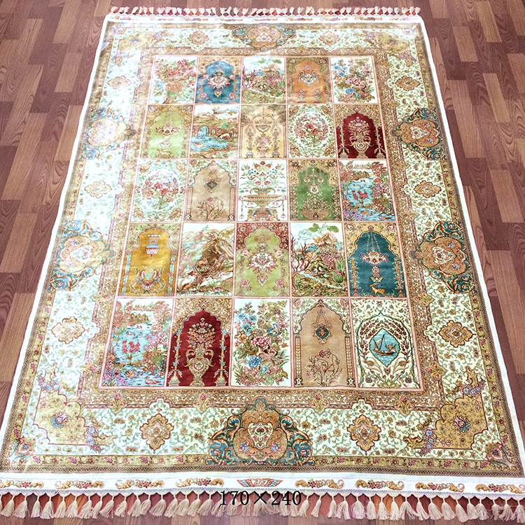 Tapis en soie 5.5 'x8' tapis faits main motif de prière tapis en soie noué à la main