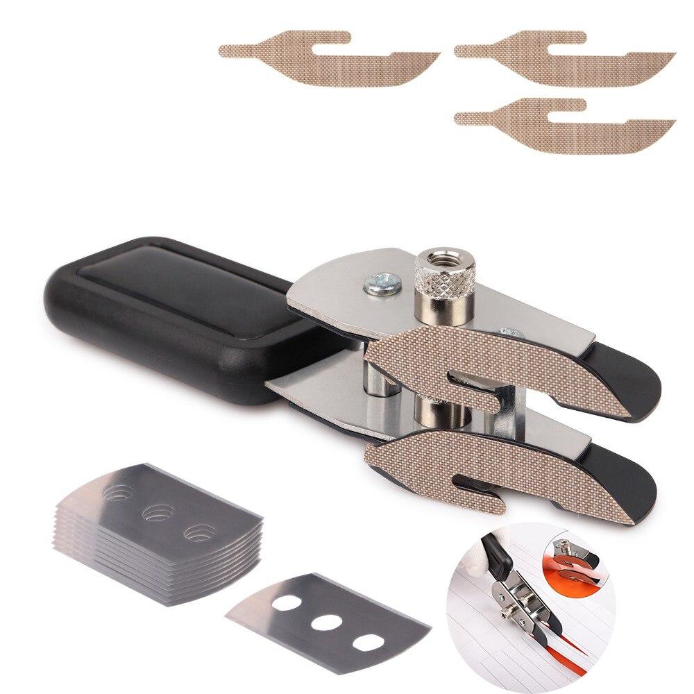 EHDIS housse de voiture en vinyle Double couche téflon Cutter couteau utilitaire + 10 pièces lame feuille de carbone Film Auto autocollant coupe outil accessoires
