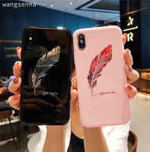 Silicone Feather Case For iPhone 7 8 Plus XS Max XR Xs Letter Phone Cases For iPhone X 8 7 6 6S Plus Soft TPU Back Cover цена