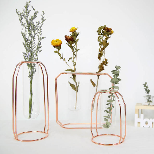 Nordic Style Glass Iron Art Vase Rose Gold Ceometric Shape Flowerpot Home Wedding Decoration Accessories Hydroponic Plant Vase