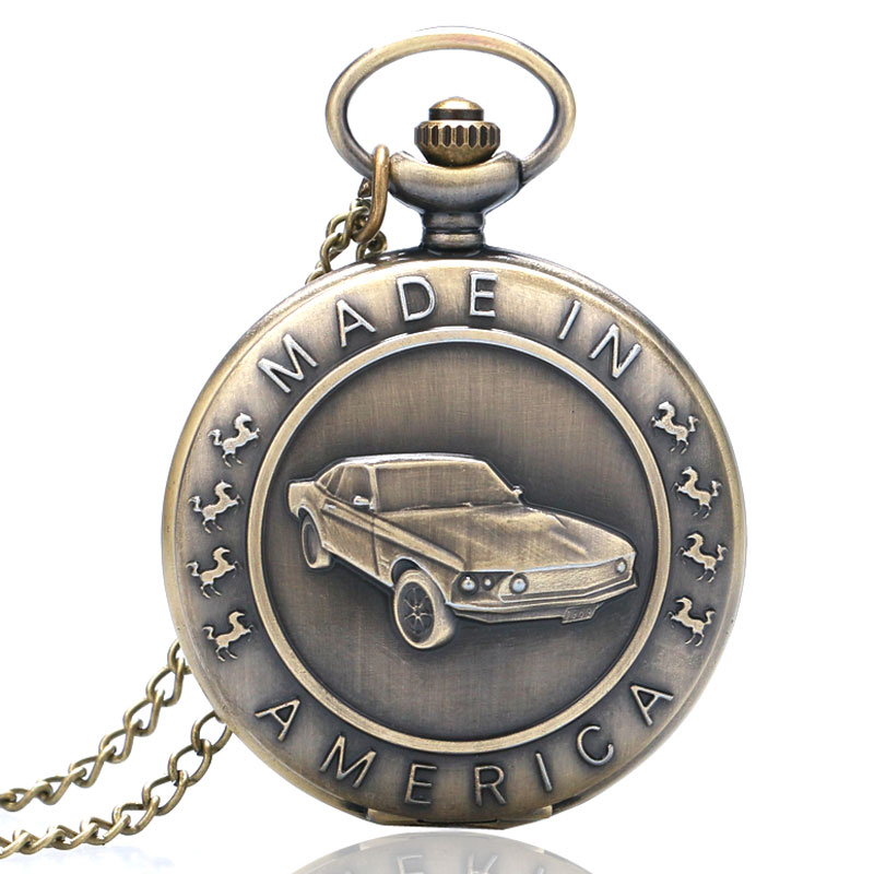 Hot Style Fashion Bronze Mustang Pattern Car Quartz Pocket Watch With Key Chain Male Female Clock Reloj De Bolsillo Erkek Saat