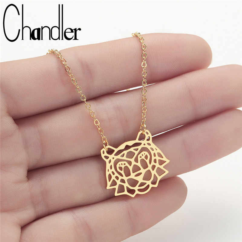 Chandler Stainless Steel Gold Color Origami Tiger Necklace Vermeil Animal Necklaces Pendants Vintage Retro long Women Colier