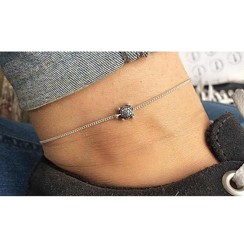 Vintage prosty srebrny łańcuszek żółwiem morskim Anklet dla kobiet bransoletka na kostkę na nodze ręcznie robiona biżuteria lato Retro Charm sandały
