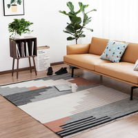 Handmade 100%Wool Carpet geometric Bohemia Indian Persian Rug plaid striped Lustere Modern black white design Nordic style