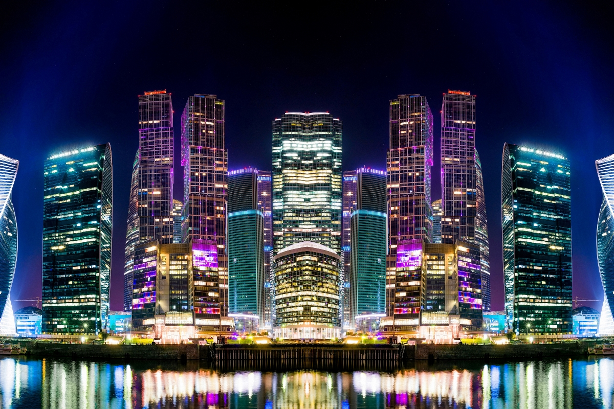 Building Moscow Night Reflection River Russia Skyscraper living Room home wall art decor wood frame fabric posters prints KE321