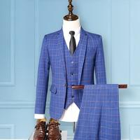 Men's high quality classic plaid suit set of 3 sets, fashion business Slim professional wear, men's ceremonial host dress