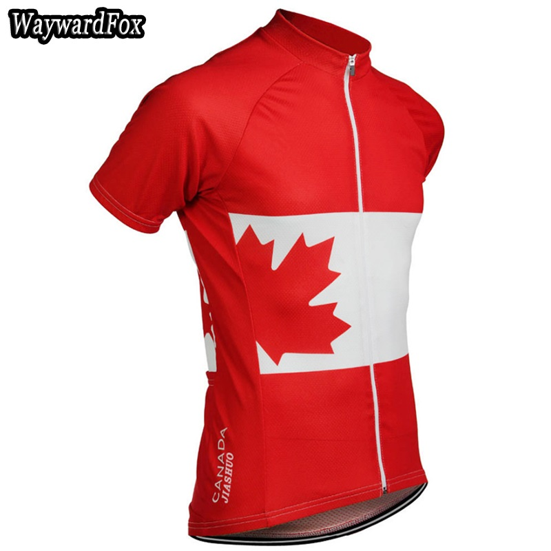 New Men s Canada Team Red Cycling Jersey Short Sleeve Riding Bike Wear Tops  Shirt Quick Dry Cycling Clothing Breathable 7130a815d