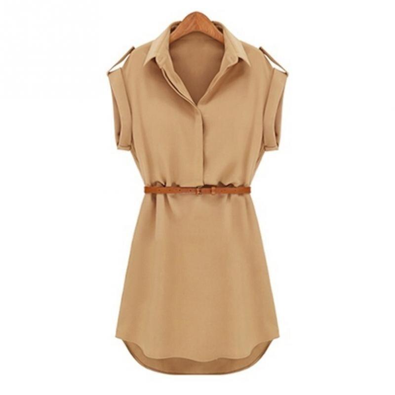 Sommer Damen Chiffon Revers Kragen Kleid Frauen Shirts Kurzarm Bluse Weibliche Kleider Mit Gürtel Plus Größe