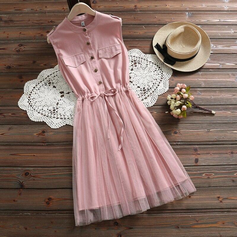 Cinto cintura rendas sem mangas vestidos mulheres vestido de verão 2019 nova casual malha de algodão azul rosa vestidos elegantes roupas 3518 50