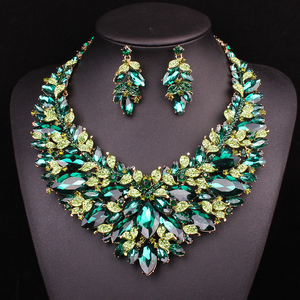 Image 2 - New Gorgeous Bridal Jewelry Sets  Wedding Necklace Earring Set For Brides Party Big Crystal  Accessories Statement Necklace Set