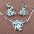 Small Design White Cubic Zirconia Women's Silver Jewelry Sets Necklace Pendant Studs Earrings Free Shipping TS096
