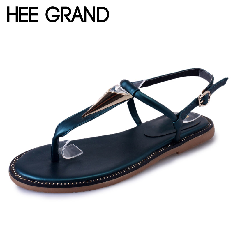 HEE GRAND Metal Flip Flops 2017 New Summer Gladiator Sandals Slip On Beach Flats Fashion Casual Simple Shoes Woman XWZ3839 hee grand lace up gladiator sandals 2017 summer platform flats shoes woman casual creepers fashion beach women shoes xwz4085