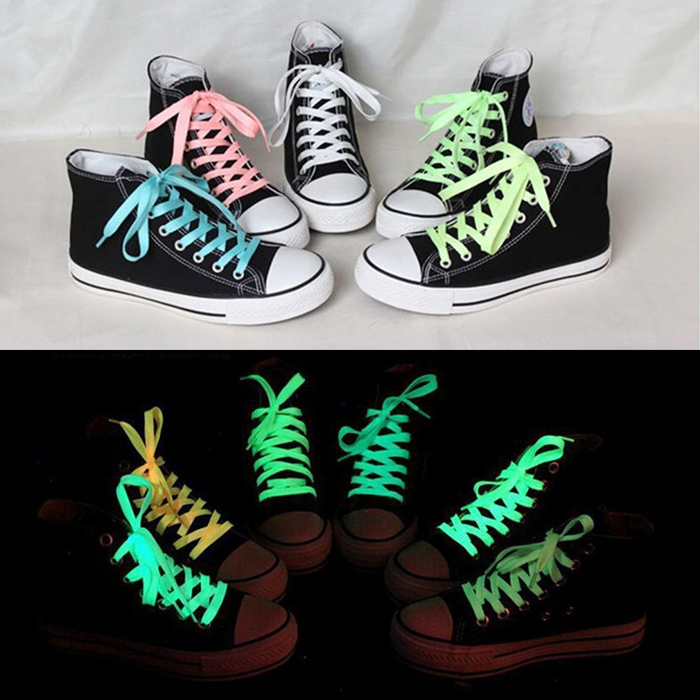 Hot 1pc(Not Pair) 60cm sport luminous shoelace glow in the dark color fluorescent shoelace Athletic Sport flat shoe laces mymei 2016 new hot luminous movable skull skeleton halloween props party bars wall house decoration glow in the dark hanging decor