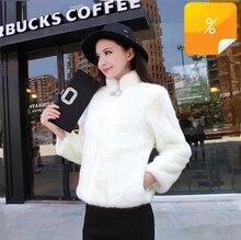 New 2016 Women Clothing Fashion Leisure Warm Fur Coat Rabbit Fur Coat stand Collar Big Size Coat